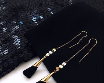 FIRENZE Perfect Gold Tassel Drop Earrings | Tassel Threaders | Gold Filled Earrings | Statement Earrings | Fringe Earrings