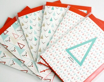 Pack of 6 Christmas card Set of 6 / Triangle / Plaid / Rudolf / A6 / assorted