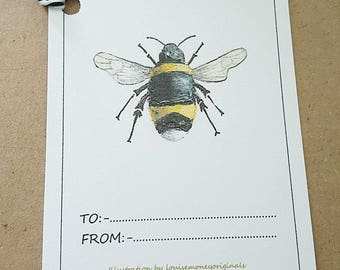 Bee gift tags. Pack of six gift tags