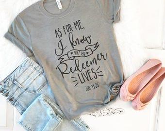 Christian easter etsy christian easter shirt my redeemer lives christian shirt for women christian t shirt negle Images