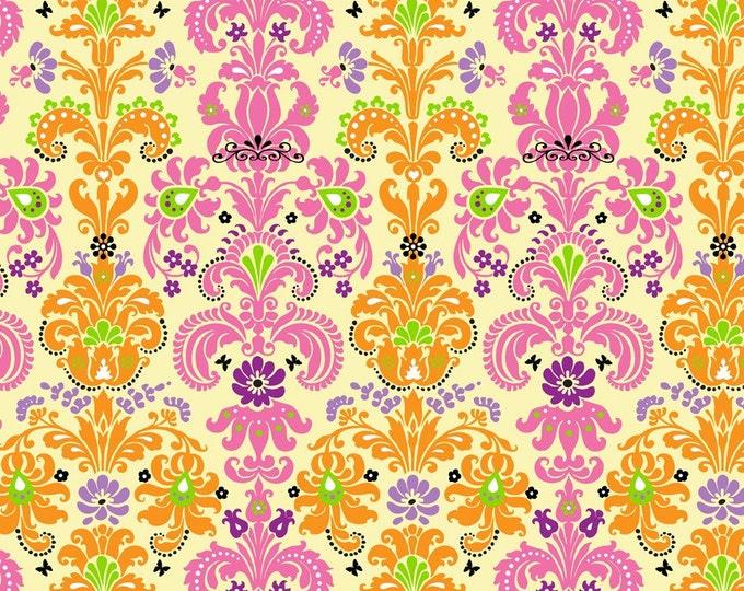 Enchanted Damask Fabric by Ellen Medlock - 1 Yard of Light Yellow, Orange, Pink, Lime Green Damask Print Cotton Fabric(#901A)