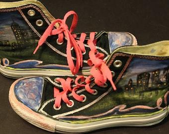 NYC skyline Converse shoes