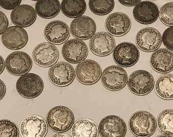 Barber Dime Lot. Many different mixes of dates, conditions and mintages