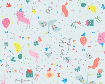 Party Animal in Blue by Lizzie Mackay for Blend Fabrics - Birthday - Hip Hooray Collection - One Yard Quilting Fabric