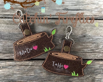 Love Log Key Fob- Rustic Zipper Pull