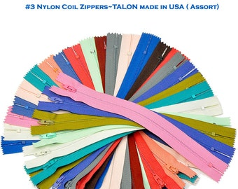 """8""""-Vintage Zippers from 1970's- VINTAGE Zippers-Sale-25 Assorted 8 inch Zipper Assortment of Colors-Talon- Made in usa-   -Vintage Zippers"""