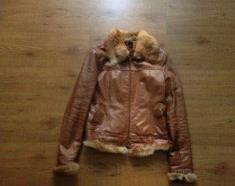 Real leather jacket with green fur inserts