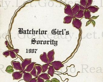 Ephemera DIGITAL IMAGE Printable Download 1907 Dance Card Bachelor Girl's Sorority Unused Junk Journal Altered Art Collage