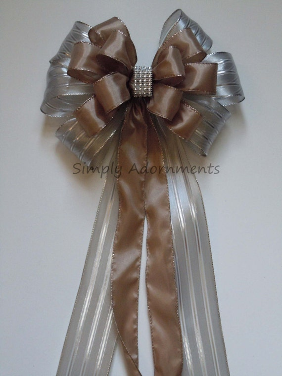 Brown Silver Pew Bow Taupe Silver Wedding Pew Bow Silver Taupe Bling Wedding Aisle Decor Silver Brown Ceremony Decor Bow Wedding Chair Bow