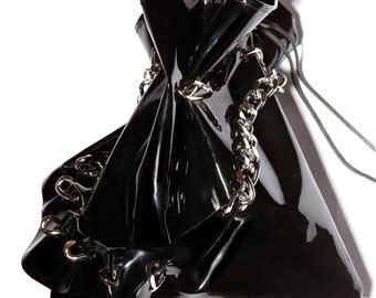 Handmade Leather Bag - Bucket Bag w. Ruff Shoulder Strap - Black Patent Leather - Drawstring Bag - Glam Rock - 80s - Gothic - BUCKET