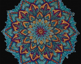 Blue Mandala Cross stitch pattern PDF- EASY chart with one color per sheet And traditional chart! Two charts in one!