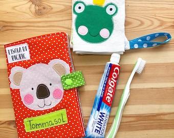 Kindergarten SET: Toothbrush/toothpaste holder, document holder, passport holder