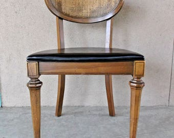 Rare Shelby Williams Dining Chair // Mid Century Modern Caned // Single Black Vinyl // Free California Local Pick Up