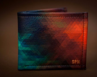 Mens personalized leather wallet for men, Colorful leather wallet, Mens wallet, Gift for men, Anniversary gifts, personalized gift