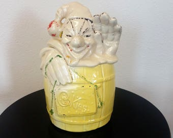 McCoy Pottery Clown Cookie Jar Circus Clown In Barrel 1940's Kitchen Decor Yellow