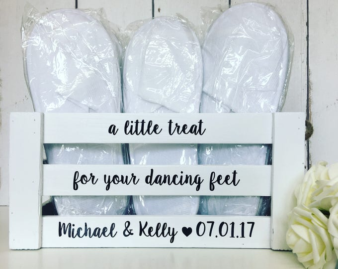 Featured listing image: A Little Treat For Your Dancing Feet   Wedding flip flops   Flip Flop Crate   Slippers Crate   Personalised Crate  Wedding Box  Wooden Crate