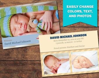 Ribbon Birth Announcement Template