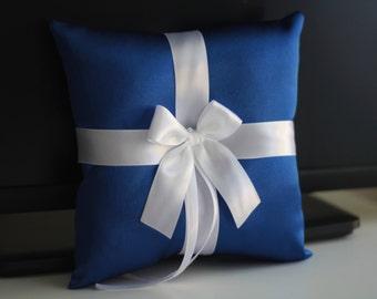 Royal Ring Bearer Pillow \ Blue wedding pillow \ Blue wedding basket \ Cobalt Ring Holder & Blue Flower Girl Basket, Blue Pillow Basket Set