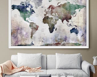 Push pin travel map world map world map wall art world map large wall art world map world map push pin world map poster gumiabroncs Images