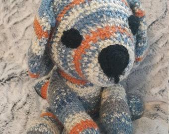 Hand made crochet amigurumi dog