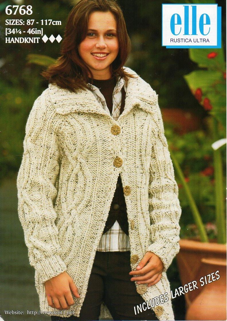 Womens aran jacket knitting pattern PDF ladies cable collar cardigan ...