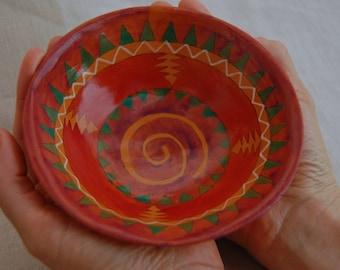 Vintage painted pottery bowl, Christopher Gamez, handmade ceramics bowl, small bowl, southwester decor, decorative bowl, acrylic painted