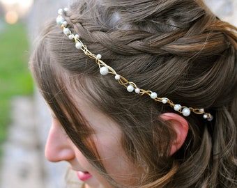 Bridal Twisted Wire with White Pearls, Vine like hairband