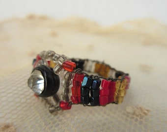 Antique Czech Ring Beaded Stretch Ring Paste Stone Edwardian