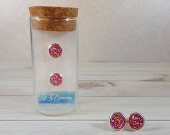Fuchsia Druzy Earrings, Hot Pink Druzy Stud Earrings, Silver Stud Earrings, Pink Druzy Stud Earrings, Pink Faux Druzy, 8mm Hot Pink Druzy