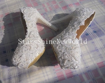 White Lace Pearls Women Wedding Shoes High Heels 10CM/12CM/14CM Custom Lace Party Shoes Platform Round Toes  EU34-40