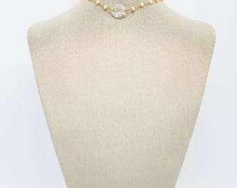 Blush Beaded Choker With Round Antique Chandelier Prism