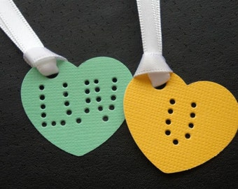 """Candy Hearts - """"Love You & XO"""" - Four (4) Large Premium Hand-hammered Confetti Gift Tags - Textured Card Stock DDOTS"""