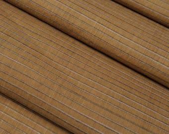 Vintage tan, light brown Striped cotton yukata fabric - by the yard
