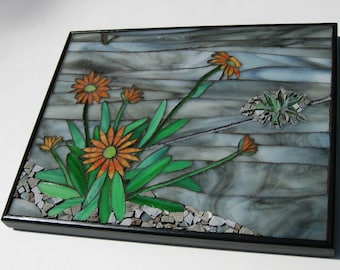 Mosaic Wall Art, Title: Urban Renewal, Grey with Orange Flowers, Artisan Made, Original Design, Mixed Media Stained Glass and Granite