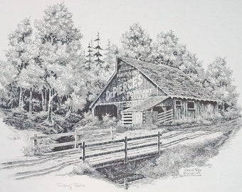 Dr Pierces Pleasant Pellets barn by Doug Tope Pen and Ink art print signed in the print wood frame under glass
