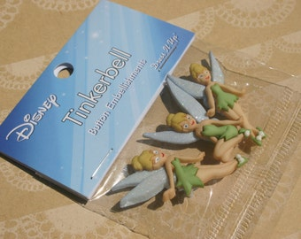Disney Buttons - Tinkerbell Buttons - Peter Pan Button - Sewing Bulk Button - 3 Shank Buttons