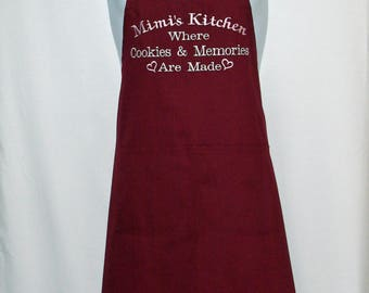 Mimi Kitchen Apron, Where Cookies And Memories Are Made, Personalized With Granny, Nonnie, No Shipping Fee, Ready To SHIP TODAY, AGFT 1144
