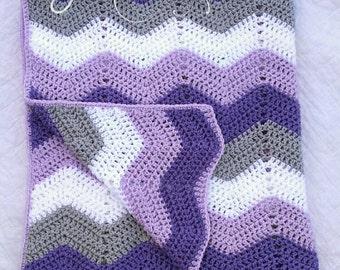 Ripple Baby Blanket, Chevron Baby Blanket, Baby Chevron Blanket, Crochet Baby Blanket, Purple Baby Blanket, Baby Girl Blanket, Chevron Baby