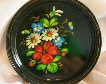 Russian Black Tole Metal Tray | Hand Painted Colorful Floral | Vintage