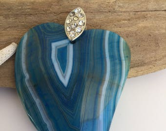 Blue agate gemstone heart shaped pendant -gemstone necklace -agate jewelry -bohemian necklace -boho pendant -gifts for her