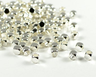 Round Cube Spacer Bead, 3mm, Silver Plating, Tarnish Resist, Lead Free, Solid Brass Spacer, 2.2mm Hole