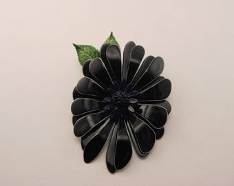 Enamel Flower Brooch, Navy Blue, with Small Leaves