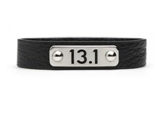 13.1, 26.2 or RUN Bracelet Leather Athlete Inspired - Black Run Wristband, Running Jewelry, Run Bracelet, Gift for Runner, Run Motivation