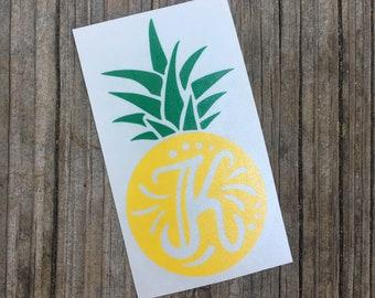 Initial Pineapple Vinyl Decal - Beach Summer Southern Preppy Monogram