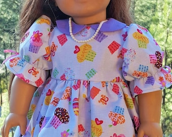 American Girl Doll Dress, Blue Cupcakes also fits Our Generation, Gotz, Springfield