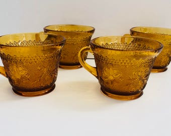 Sandwich Glass Indiana Tiara Amber Pressed Glass Coffee Cup- Set of 4