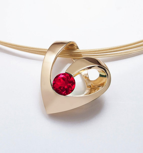 gold heart pendant, July birthstone, ruby necklace, 14k yellow gold, valentine necklace, Chatham ruby, artisan jewelry, love -  3401
