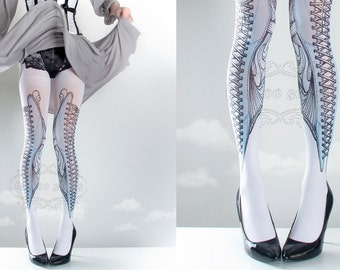 Tattoo Tights,  white one size Elizabeth corset drawing print full length closed toe printed tights pantyhose, tattoo socks