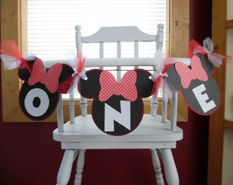 Minnie Mouse High Chair Banner - Minnie Mouse Birthday - Minnie Mouse Photo Prop Banner