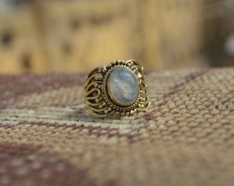 Indian Handmade Ring / Rainbow Moonstone Ring / Natural Stone Ring/Traditional Ring